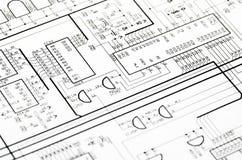 Gedetailleerde technische tekening Stock Afbeeldingen