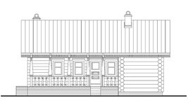 Gedetailleerde tekening van de houten saunabouw vector illustratie