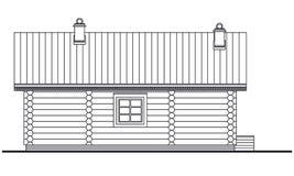 Gedetailleerde tekening van houten sauna de bouwvoorzijde stock illustratie