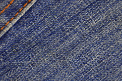 Gedetailleerde textuur van donkere denimdoek Stock Foto