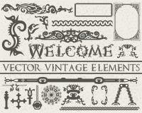 Gedetailleerde uitstekende elementen in gotische stijl op beige uitstekende geweven achtergrond Vector illustratie Royalty-vrije Stock Foto's