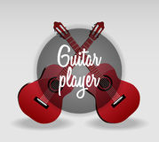 Gedetailleerde vectorillustratie van klassieke rode gitaar twee Royalty-vrije Stock Foto