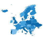 Gedetailleerde vectorkaart Europa Stock Fotografie