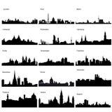 Gedetailleerde vectorsilhouetten van Europese steden Stock Afbeelding