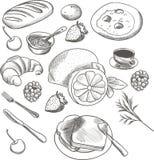 Gedetailleerde voedselschets Stock Foto's
