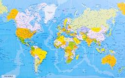 Gedetailleerde wereldkaart Stock Fotografie