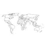 Gedetailleerde wereldkaart en grenzen Stock Afbeelding