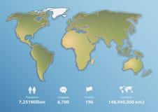 Gedetailleerde wereldkaart met basisinformatie, Lege kaart Royalty-vrije Stock Foto's