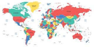 Gedetailleerde wereldkaart met grenzen, landen en steden stock illustratie