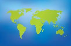 Gedetailleerde wereldkaart op blauwe achtergrond Vector Illustratie