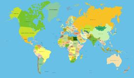Gedetailleerde wereldkaart, Vector vector illustratie