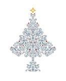 Gedetailleerde zilveren Kerstboom Stock Afbeelding