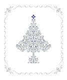 Gedetailleerde zilveren Kerstboom in een frame Stock Foto