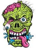 Gedetailleerde Zombie Hoofdillustratie Stock Afbeeldingen