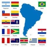 Gedetailleerde Zuidamerikaanse vlaggen   Stock Foto's