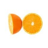 Gediende oranje die fruitsamenstelling over wordt geïsoleerd Stock Afbeeldingen