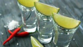 Gediende schoten met tequila en kalkplakken stock fotografie