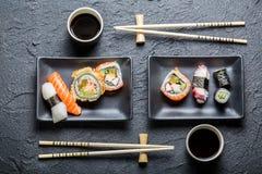 Gediende sushi voor twee royalty-vrije stock foto's