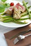Gediende tonijn met asperge Stock Foto