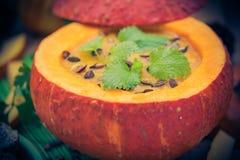 Gediente hohle Fruchtweinlese des Kürbises Suppe Stockfoto