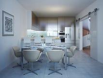 Gedienter Abendtisch in der Küche der modernen Art Stockfotografie
