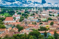 从Gediminas塔的鸟瞰图 库存照片