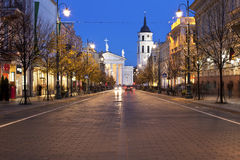 Gediminas aleja w Vilnius przy nocą Zdjęcia Stock