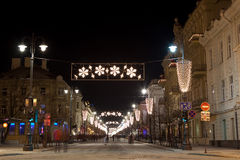 Gediminas avenue. Vilnius, Lithuania - January 1: The main street of Lithuanian capital city Vilnius - Gediminas avenue - is decorated for Chrismass and New Year stock photo