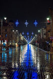 Gediminas avenue in Vilnius is decorated for Christmas. The main street of Lithuanian capital city Vilnius - Gediminas avenue - is decorated for Christmas and stock photography