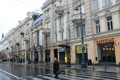 Gediminas Avenue in Vilnius. The capital of Lithuania. It the main street of Vilnius, where most of the governmental institutions of Lithuania are concentrated stock photography
