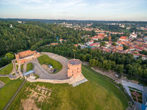 Gediminas Castle and Hill of Three Crosses in Vilnius, Lithuania. stock image