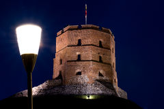 Gediminas castle light. Vilnius Lithuania old town architecture Gediminas castle stock photography