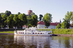 Gediminas castle and Neris river in Vilnius Stock Photo