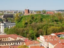 Gediminas castle tower on the hill in Vilnius city. Gediminas old castle tower on the hill in Vilnius city Royalty Free Stock Photos