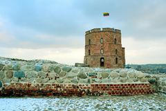 Gediminas Castle Tower on Hill in Vilnius Royalty Free Stock Images