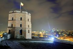 Gediminas Castle Tower on Hill in Vilnius. VILNIUS, LITHUANIA - FEBRUARY 2: Gediminas Castle Tower on Hill in Vilnius on February 2, 2015, Vilnius, Lithuania royalty free stock image