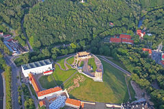 Gediminas Castle in Vilnius aerial view stock photo