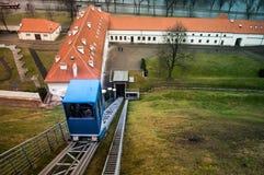 Gediminas' hill. In snowless january 2014 (Vilnius, Lithuania), funicular royalty free stock photos