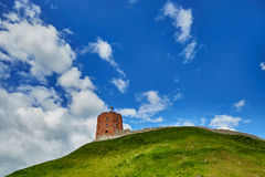 Gediminas hill with tower over the blue sky, Vilnius, Lithuania. Gediminas hill with Gediminas tower over the blue sky, Vilnius, Lithuania stock photo