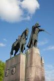 Gediminas monument i Vilnius Arkivfoto