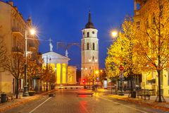 Gediminas prospect at night, Vilnius, Lithuania. Gediminas prospect and Cathedral Belfry during evening blue hour, Vilnius, Lithuania, Baltic states Stock Image