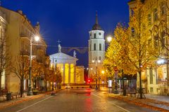 Gediminas prospect at night, Vilnius, Lithuania. Gediminas prospect and Cathedral Belfry during evening blue hour, Vilnius, Lithuania, Baltic states royalty free stock image
