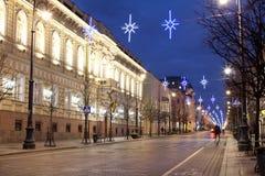 Gediminas prospect, Vilnius. Vilnius, Lithuania, 31 December - 2013.  Christmas illumination in Gediminas prospect Royalty Free Stock Photo