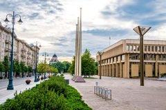 Gediminas street. With government building, Vilnius Lithuania stock image