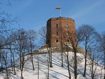 Gediminas Tower. 2007 02 17 Gediminas Tower in Vilnius (Lithuania) in winter stock photography