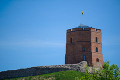 Gediminas` Tower. The first wooden fortifications were built by Gediminas, Grand Duke of Lithuania. Right now hill is being destroyed by the rain corrosion. The royalty free stock images