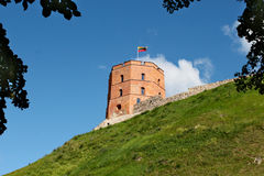Gediminas Tower on green hill in Vilnius. Gediminas Tower on green hill with Lithuanian flag on top. The historical tower is made of red brick royalty free stock images