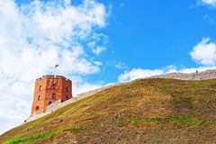 Gediminas Tower on hill of old town center of Vilnius. Gediminas Tower on the hill of the old town center of Vilnius, Lithuania royalty free stock photography