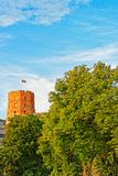 Gediminas Tower on hill of old town center in Vilnius. Gediminas Tower on the hill of the old town center in Vilnius, Lithuania royalty free stock photos