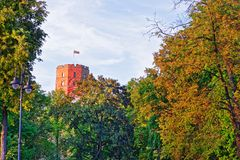 Gediminas Tower on hill of old town center Vilnius. Gediminas Tower on the hill of the old town center, Vilnius, Lithuania stock photography